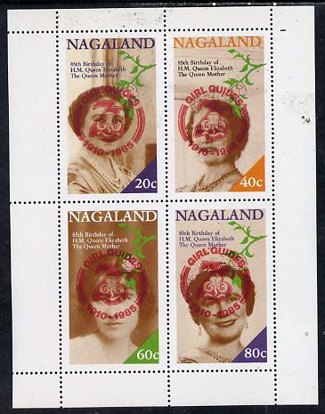 Nagaland 1985 Life & Times of HM Queen Mother perf set of 4 with Girl Guide 75th Anniversary opt in red unmounted mint