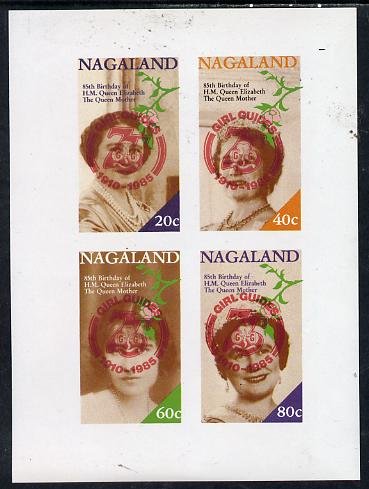 Nagaland 1985 Life & Times of HM Queen Mother imperf set of 4 with Girl Guide 75th Anniversary opt in red unmounted mint