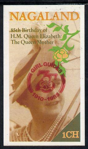 Nagaland 1985 Life & Times of HM Queen Mother imperf souvenir sheet (1ch value) with Girl Guide 75th Anniversary opt in red unmounted mint