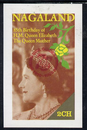 Nagaland 1985 Life & Times of HM Queen Mother imperf deluxe sheet (2ch value) with Girl Guide 75th Anniversary opt in red unmounted mint