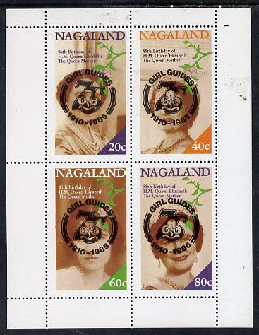 Nagaland 1985 Life & Times of HM Queen Mother perf set of 4 with Girl Guide 75th Anniversary opt in black unmounted mint