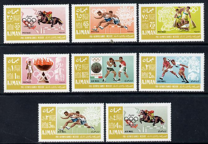 Ajman 1967 Mexico Olympics perf set of 8 in alternative colours unmounted mint, as Mi 189-96A