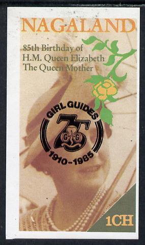 Nagaland 1985 Life & Times of HM Queen Mother imperf souvenir sheet (1ch value) with Girl Guide 75th Anniversary opt in black unmounted mint