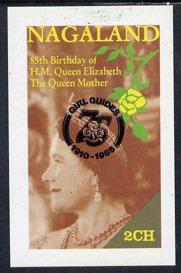 Nagaland 1985 Life & Times of HM Queen Mother imperf deluxe sheet (2ch value) with Girl Guide 75th Anniversary opt in black unmounted mint