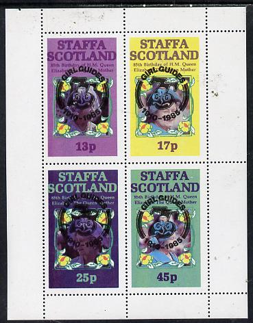 Staffa 1985 Life & Times of HM Queen Mother perf set of 4 with Girl Guide 75th Anniversary opt in black unmounted mint