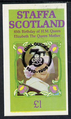Staffa 1985 Life & Times of HM Queen Mother imperf souvenir sheet (�1 value) with Girl Guide 75th Anniversary opt in black unmounted mint
