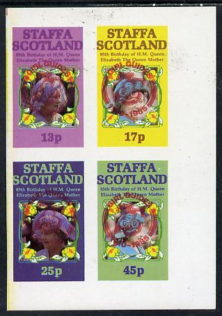 Staffa 1985 Life & Times of HM Queen Mother imperf set of 4 with Girl Guide 75th Anniversary opt in red unmounted mint