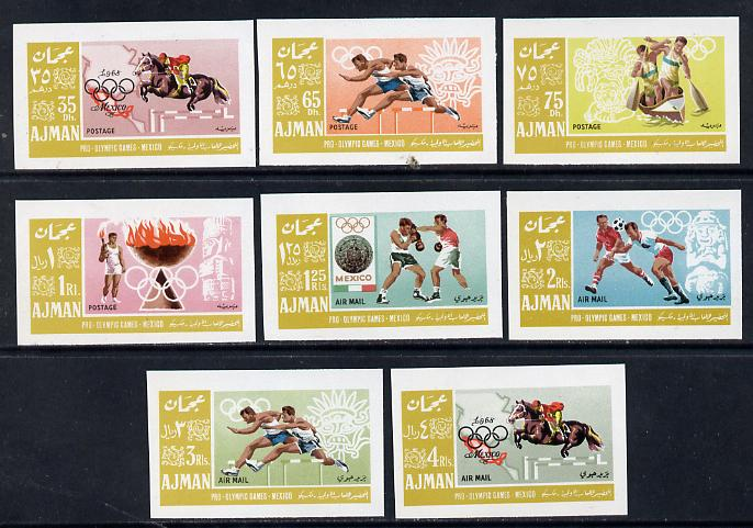 Ajman 1967 Mexico Olympics imperf set of 8 in alternative colours unmounted mint, as Mi 189-96B