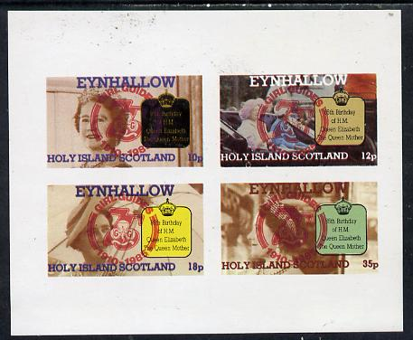 Eynhallow 1985 Life & Times of HM Queen Mother imperf set of 4 with Girl Guide 75th Anniversary opt in red unmounted mint