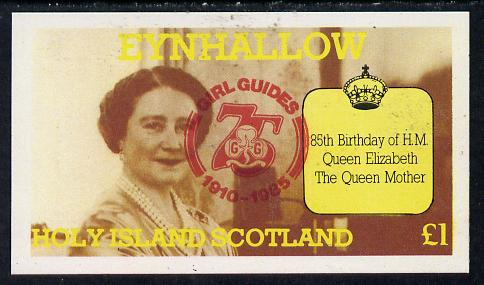 Eynhallow 1985 Life & Times of HM Queen Mother imperf souvenir sheet (�1 value) with Girl Guide 75th Anniversary opt in red unmounted mint