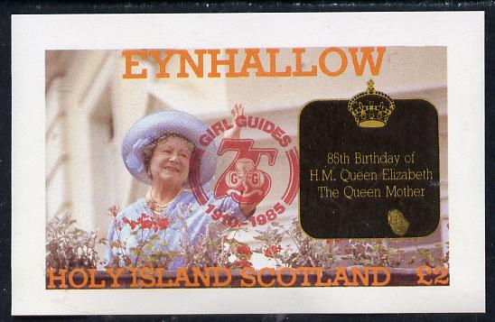 Eynhallow 1985 Life & Times of HM Queen Mother imperf deluxe sheet (�2 value) with Girl Guide 75th Anniversary opt in red unmounted mint