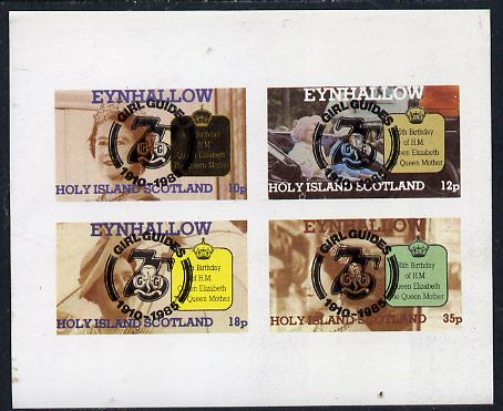 Eynhallow 1985 Life & Times of HM Queen Mother imperf set of 4 with Girl Guide 75th Anniversary opt in black unmounted mint