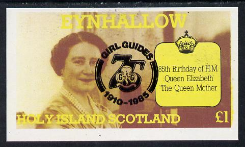 Eynhallow 1985 Life & Times of HM Queen Mother imperf souvenir sheet (�1 value) with Girl Guide 75th Anniversary opt in black unmounted mint