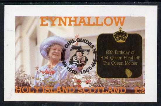 Eynhallow 1985 Life & Times of HM Queen Mother imperf deluxe sheet (�2 value) with Girl Guide 75th Anniversary opt in black unmounted mint
