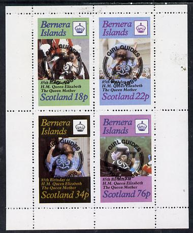Bernera 1985 Life & Times of HM Queen Mother perf set of 4 with Girl Guide 75th Anniversary opt in black unmounted mint
