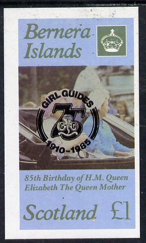 Bernera 1985 Life & Times of HM Queen Mother imperf souvenir sheet (�1 value) with Girl Guide 75th Anniversary opt in black unmounted mint