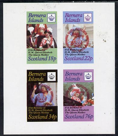 Bernera 1985 Life & Times of HM Queen Mother imperf set of 4 with Girl Guide 75th Anniversary opt in red unmounted mint