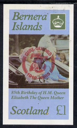 Bernera 1985 Life & Times of HM Queen Mother imperf souvenir sheet (�1 value) with Girl Guide 75th Anniversary opt in red unmounted mint