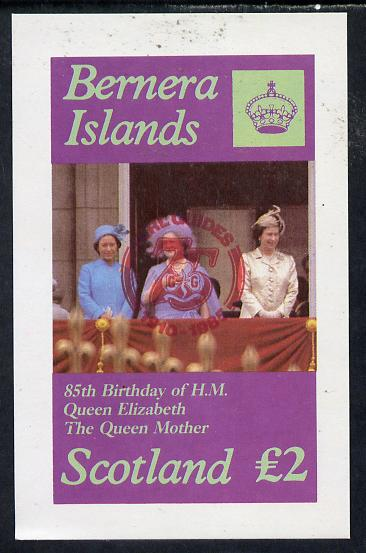 Bernera 1985 Life & Times of HM Queen Mother imperf deluxe sheet (�2 value) with Girl Guide 75th Anniversary opt in red unmounted mint