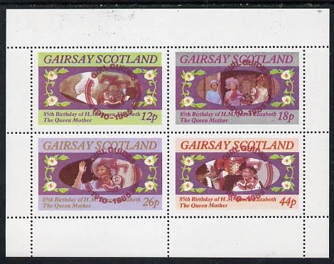 Gairsay 1985 Life & Times of HM Queen Mother perf set of 4 with Girl Guide 75th Anniversary opt in red unmounted mint
