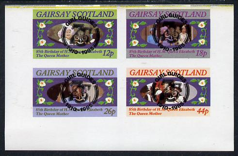 Gairsay 1985 Life & Times of HM Queen Mother imperf set of 4 with Girl Guide 75th Anniversary opt in black unmounted mint