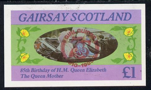 Gairsay 1985 Life & Times of HM Queen Mother imperf souvenir sheet (�1 value) with Girl Guide 75th Anniversary opt in red unmounted mint, stamps on scouts, stamps on royalty, stamps on queen mother