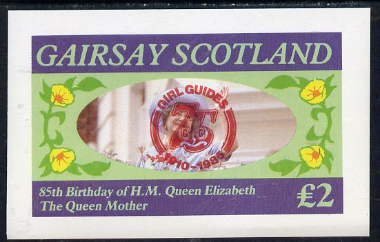 Gairsay 1985 Life & Times of HM Queen Mother imperf deluxe sheet (�2 value) with Girl Guide 75th Anniversary opt in red, unmounted mint
