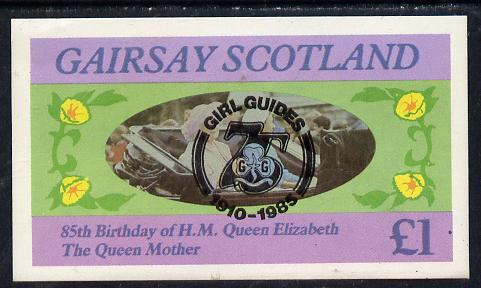 Gairsay 1985 Life & Times of HM Queen Mother imperf souvenir sheet (�1 value) with Girl Guide 75th Anniversary opt in black unmounted mint