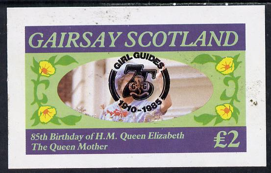 Gairsay 1985 Life & Times of HM Queen Mother imperf deluxe sheet (�2 value) with Girl Guide 75th Anniversary opt in black unmounted mint