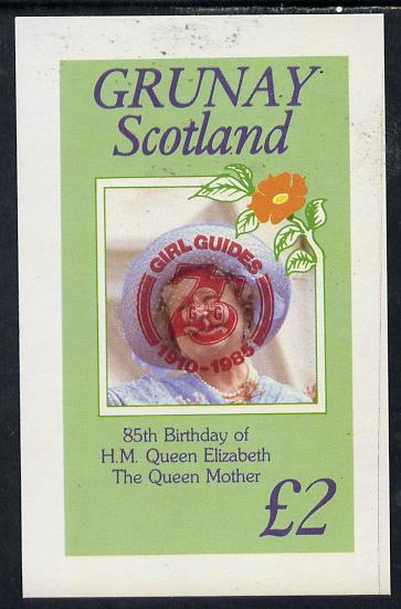 Grunay 1985 Life & Times of HM Queen Mother imperf deluxe sheet (�2 value) with Girl Guide 75th Anniversary opt in red unmounted mint
