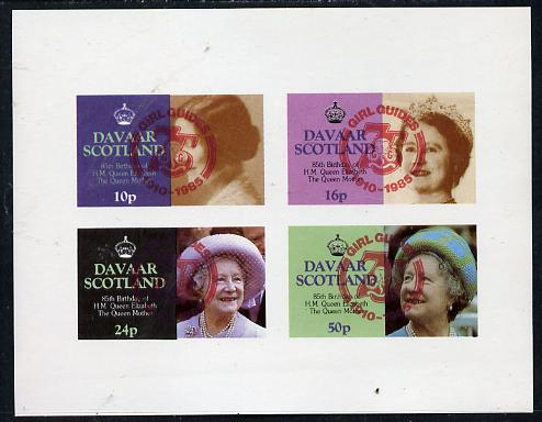 Davaar Island 1985 Life & Times of HM Queen Mother imperf set of 4 with Girl Guide 75th Anniversary opt in red unmounted mint