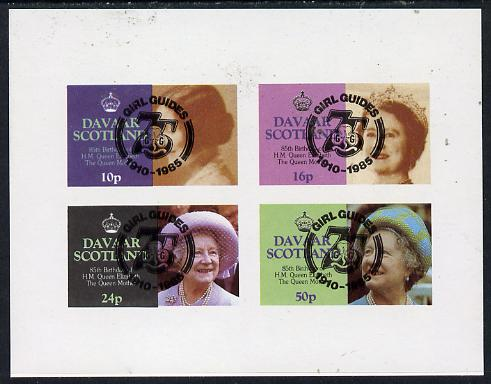 Davaar Island 1985 Life & Times of HM Queen Mother imperf set of 4 with Girl Guide 75th Anniversary opt in black unmounted mint