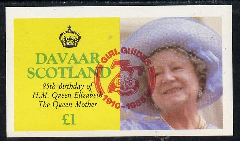 Davaar Island 1985 Life & Times of HM Queen Mother imperf souvenir sheet (�1 value) with Girl Guide 75th Anniversary opt in red unmounted mint