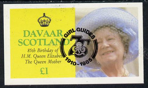 Davaar Island 1985 Life & Times of HM Queen Mother imperf souvenir sheet (�1 value) with Girl Guide 75th Anniversary opt in black unmounted mint