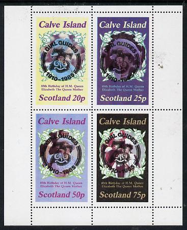 Calve Island 1985 Life & Times of HM Queen Mother perf set of 4 with Girl Guide 75th Anniversary opt in black unmounted mint
