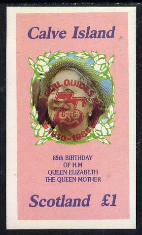 Calve Island 1985 Life & Times of HM Queen Mother imperf souvenir sheet (�1 value) with Girl Guide 75th Anniversary opt in red unmounted mint