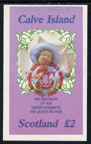 Calve Island 1985 Life & Times of HM Queen Mother imperf deluxe sheet (�2 value) with Girl Guide 75th Anniversary opt in red unmounted mint