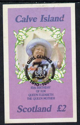 Calve Island 1985 Life & Times of HM Queen Mother imperf deluxe sheet (�2 value) with Girl Guide 75th Anniversary opt in black unmounted mint
