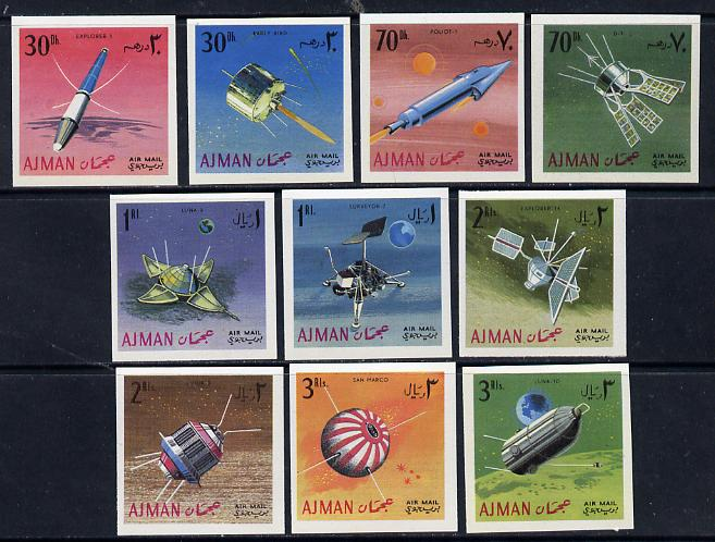 Ajman 1968 Satellites & Spacecraft imperf set of 10 (Mi 257-66B) unmounted mint