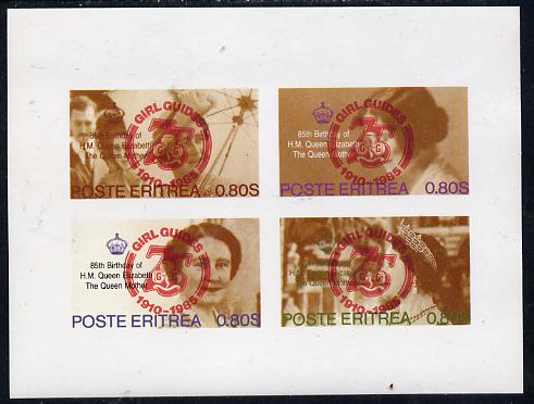 Eritrea 1985 Life & Times of HM Queen Mother imperf set of 4 with Girl Guide 75th Anniversary opt in red unmounted mint