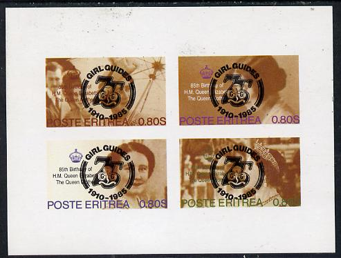 Eritrea 1985 Life & Times of HM Queen Mother imperf set of 4 with Girl Guide 75th Anniversary opt in black