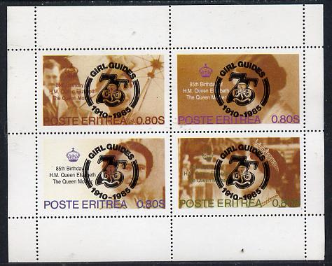 Eritrea 1985 Life & Times of HM Queen Mother perf set of 4 with Girl Guide 75th Anniversary opt in black