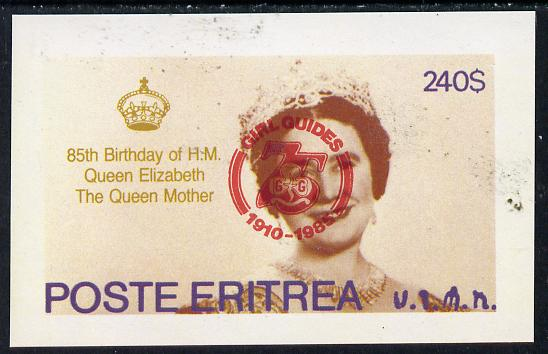Eritrea 1985 Life & Times of HM Queen Mother imperf deluxe sheet ($240 value) with Girl Guide 75th Anniversary opt in red unmounted mint