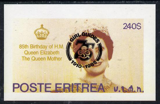 Eritrea 1985 Life & Times of HM Queen Mother imperf deluxe sheet ($240 value) with Girl Guide 75th Anniversary opt in black unmounted mint