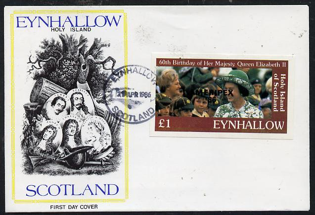 Eynhallow 1986 Queen's 60th Birthday imperf souvenir sheet (\A31 value with Cub-Scouts in crowd) with AMERIPEX opt in black on cover with first day cancel