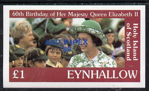 Eynhallow 1986 Queen's 60th Birthday imperf souvenir sheet (�1 value with Cub-Scouts in crowd) with AMERIPEX opt in blue unmounted mint