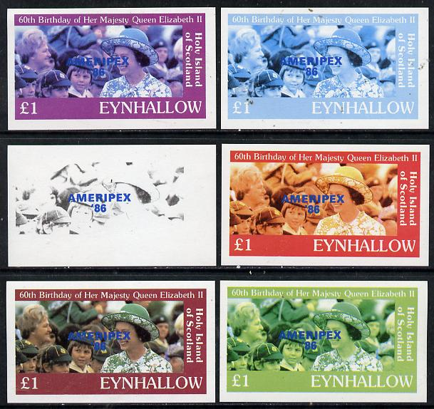 Eynhallow 1986 Queen's 60th Birthday imperf souvenir sheet (\A31 value with Cub-Scouts in crowd) with AMERIPEX opt in blue set of 6 progressive proofs comprising single & composite combinations incl completed design unmounted mint