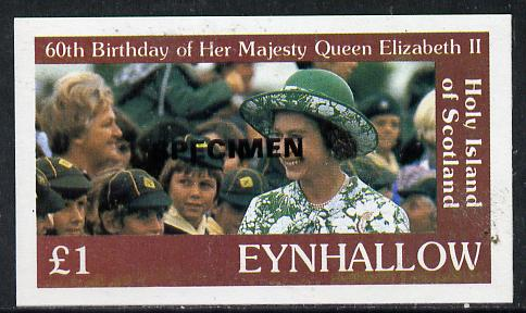 Eynhallow 1986 Queen's 60th Birthday imperf souvenir sheet (\A31 value with Cub-Scouts in crowd) with SPECIMEN opt in black unmounted mint