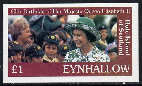 Eynhallow 1986 Queen's 60th Birthday imperf souvenir sheet (�1 value with Cub-Scouts in crowd) unmounted mint