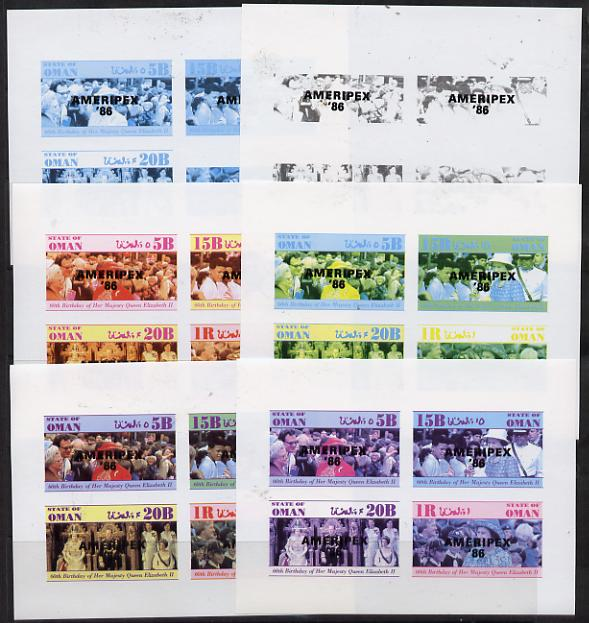 Oman 1986 Queen's 60th Birthday imperf set of 4 with AMERIPEX opt in black (1R value shows Cub-Scouts in crowd) set of 6 progressive proofs comprising single & composite combinations incl completed design unmounted mint